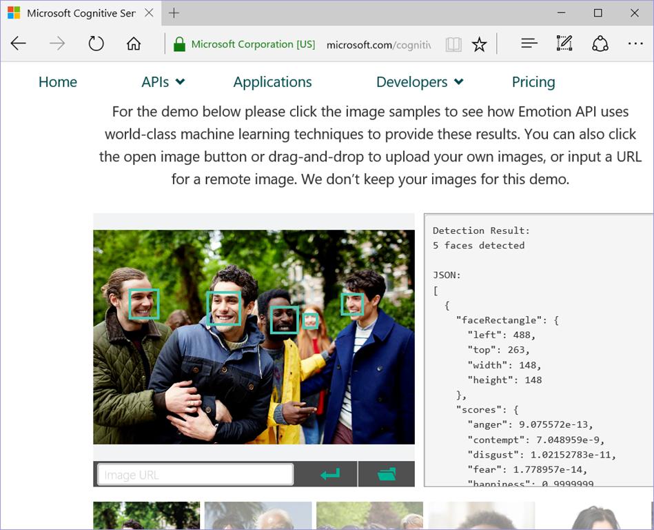 Emotion APIページのキャプチャ